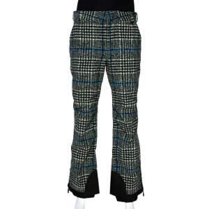 Moncler Olive Green & Blue Houndstooth Pattern Ski Recco Pants S