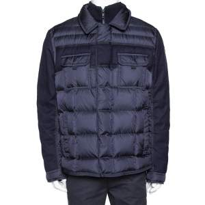 Moncler Navy Blue Down Quilted Wool Trim Blais Jacket 4XL