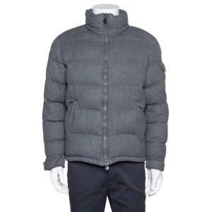 Moncler Grey Wool Puffer Jacket XXL