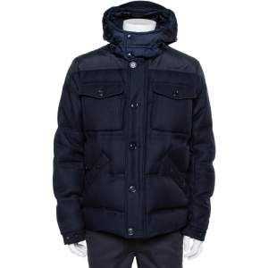 Moncler Navy Blue Wool Down Quilted Republique Jacket XXL