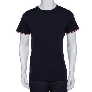 Moncler Navy Blue Logo Patch Cotton Crewneck T-Shirts XL