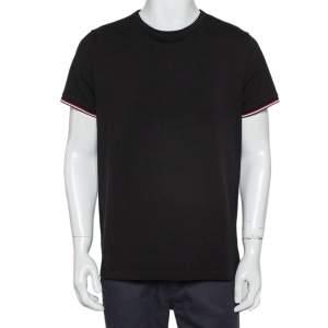 Moncler Black Cotton Logo Crewneck T-Shirt XL