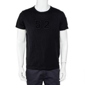 Moncler Black Cotton Applique Detail Crewneck T-Shirt L