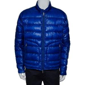 Moncler Blue Synthetic Quilted Acorus Jacket XXL