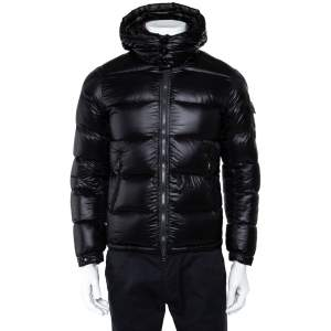 Moncler Black Quilted Synthetic Hooded Zin Jacket XS