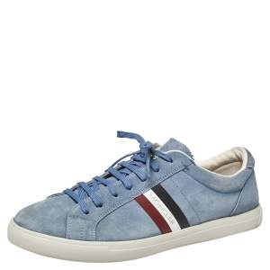 Moncler La Monaco Blue Suede Low Top Sneakers Size 43