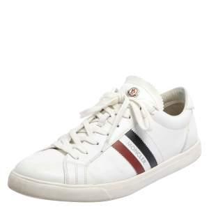 Moncler White Leather Monaco Stripe Detail Low Top Sneakers Size 44