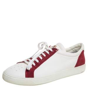 Moncler White/Red Leather And Suede Low Top Sneakers Size 45