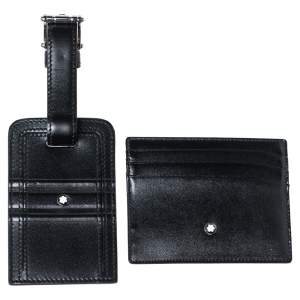 Montblanc Black Leather Meisterstuck Card Holder and Luggage Tag Set