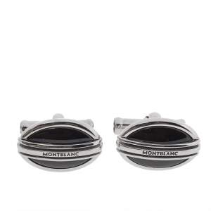 Montblanc Stainless Steel & Black Onyx Oval Cufflinks
