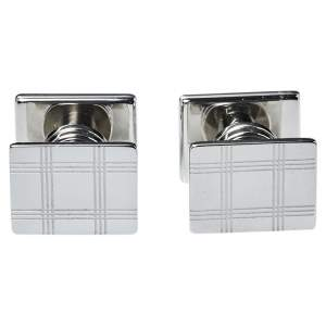Montblanc Silver Tone Checked Pattern Essential Sartorial Cufflinks