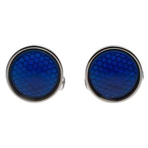 Montblanc Silver Tone & Blue Glass Round Star Cufflinks