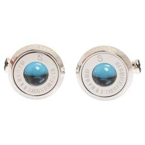Montblanc Stainless Steel & Blue Sunstone Urban Spirit Round Cufflinks