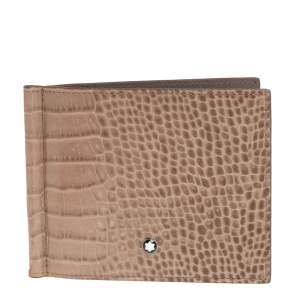 Montblanc Beige Croc Embossed Leather Meisterstuck Money Clip Bifold Wallet