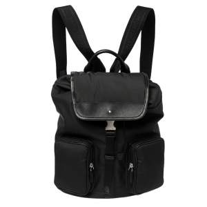 Montblanc Black Nylon and Leather Small Sartorial Jet Backpack