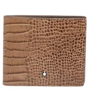 Montblanc Beige Croc Embossed Leather Meisterstuck Bifold Wallet