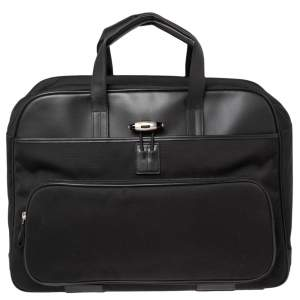 Montblanc Black Nylon and Leather Nightflight Holdall Briefcase