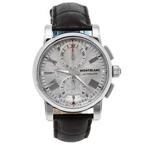 Montblanc Silver Stainless Steel & Leather Star 7104 Automatic Men's Wristwatch 44 mm