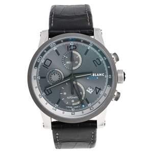 ساعة يد رجالية مون بلان كرونوفويغر UTC 107339 جلد تيتانيوم ستانلس ستيل رصاصي 43 مم
