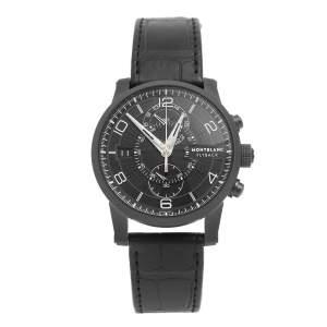 ساعة يد رجالية مون بلان تايمواركر توينفلي 106507 إصدار محدود جلد تيتانيوم مقوى بي في دي سوداء 43 مم