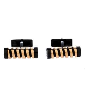 Montblanc Black Coated Rose Gold Plated Spiral Cufflinks