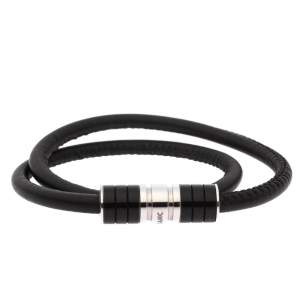 Montblanc Black Leather Double Wrap Bracelet