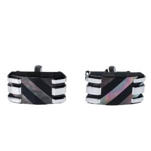 Montblanc Stripes Mother of pearl & Onyx Stainless Steel Rectangular Cufflinks