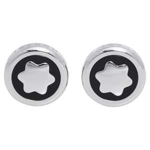Montblanc Onyx Stainless Steel Round Star Cufflinks