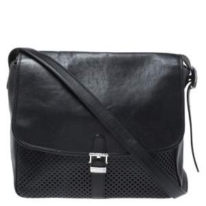 Montblanc Black Leather Meisterstuck Large Messenger Bag