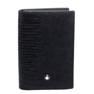 Montblanc Black Croc Embossed Leather Meisterstuck Bifold Card Holder