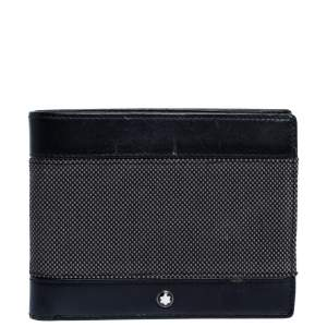 Montblanc Grey/Black Canvas and Leather Meisterstuck Bifold Wallet