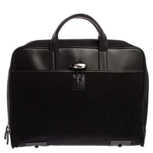 MontBlanc Black Canvas and Leather Nightflight Document Briefcase Bag