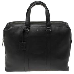 Montblanc Black Soft Grained Leather Meisterstuck Document Briefcase