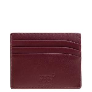 Montblanc Maroon Leather Meisterstück 6CC Card Holder