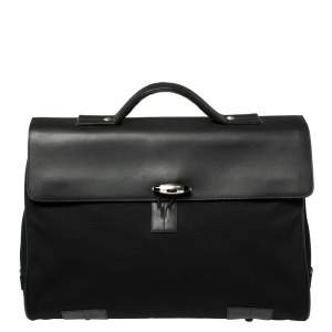 Montblanc Black Fabric and Leather Double Gusset Nightflight Briefcase