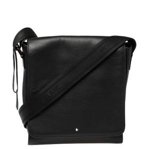 Montblanc Black Leather Meisterstuck North South Messenger Bag
