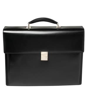 Montblanc Black Leather Meisterstuck Triple Gusset Briefcase