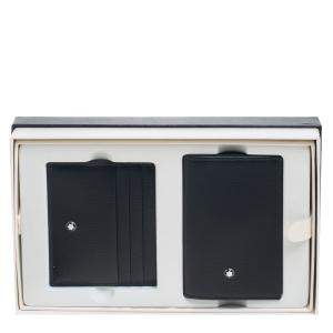Montblanc Black Leather Meisterstuck Business Card Holder Set