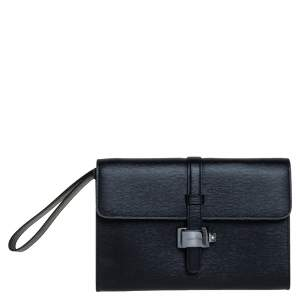 Montblanc Black Leather Westside Flap Wristlet Clutch