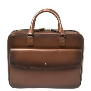 Montblanc Ombre Brown Leather Meisterstuck Flap Pocket Briefcase