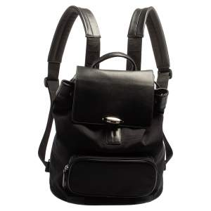 Montblanc Black Nylon and Leather Drawstring Flap Backpack