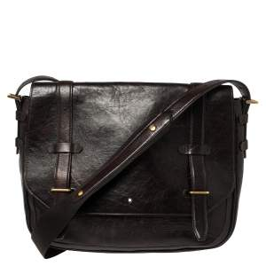 Montblanc Brown Leather Flap Messenger Bag