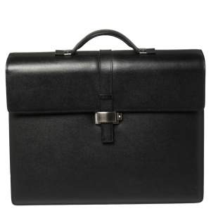 Montblanc Black Textured Leather Westside Triple Gusset Briefcase