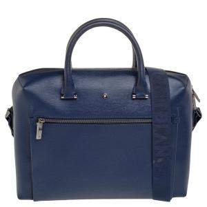 حقيبة مستندان مون بلان ويستسايد كبيرة جلد أزرق
