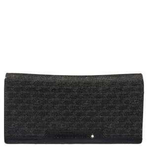 Montblanc Black Signature Coated Canvas and Leather 14 CC Continental Wallet