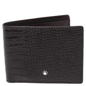 Montblanc Mocha Croc Embossed Leather Meisterstuck Bifold Wallet
