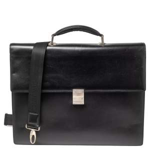 Montblanc Black Leather Meisterstuck Double Gusset Briefcase