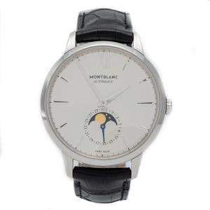 Montblanc Silver Meisterstuck Heritage Moonstruck Steel Men's Wristwatch 39 MM