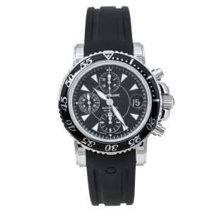 Montblanc Black Stainless Steel Rubber Sport Chronograph 7034 Men's Wristwatch 41.50 mm