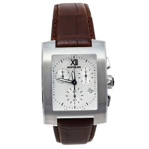 Montblanc Silver Stainless Steel Leather Profile XL 101560 Men's Wristwatch 33 mm